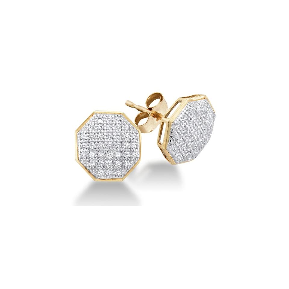 10K Yellow and White Two Tone Gold Micro Pave Set Round Diamond Octagon Shape Stud Earrings with Push Back Closure   (1/5 cttw)