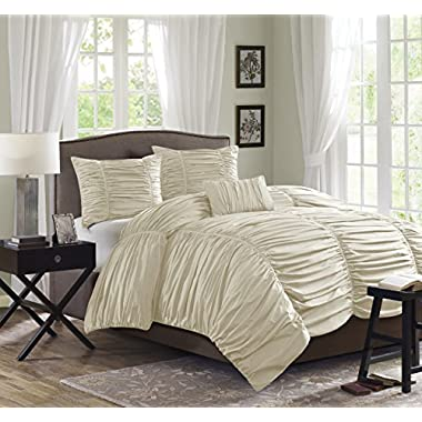 Madison Park Delancey 4 Piece Duvet Set, King, Khaki