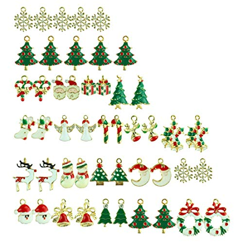 48pcs Bulk Mixed Gold Toned Enamel Christmas Charms Pendants DIY for Necklace Bracelet Earring Jewelry Making and (Enamel Wreath Charm)