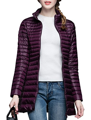 Purple Chick - CHERRY CHICK Women's Light Weight Puffer Down Long Jacket Small Dark Purple