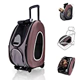 ibiyaya 4 in 1 Pet Carrier + Backpack + CarSeat + Carriers on Wheels for Dogs and Cats (Brown)