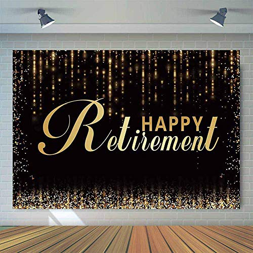 Allenjoy 7x5ft Black and Gold Retirement Party Backdrop Glitter Congratulation Retirement Photography Background The Aged Retirement Party Banner Photo Booth Props