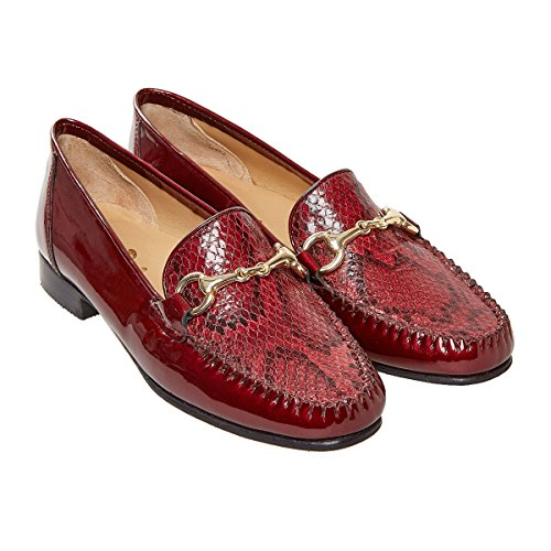 Van Dal Shoes Womens Putnam Loafers in Mulberry Pearlised Patent/Snake Print cXFKnB1YSG