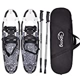 "Gpeng 14""/21""/25""/27""/30"" Snowshoes Snow Shoes for Men Women Youth Kids,Lightweight Aluminum Alloy Snowshoes + Anti-Shock Adjustable Snowshoeing Poles + Free Carrying Tote Bag"
