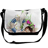 Swim Ring Parrot On The Beach Casual Adjustable Strap Shoulder Bag - Crossbody Sling Messenger Bags