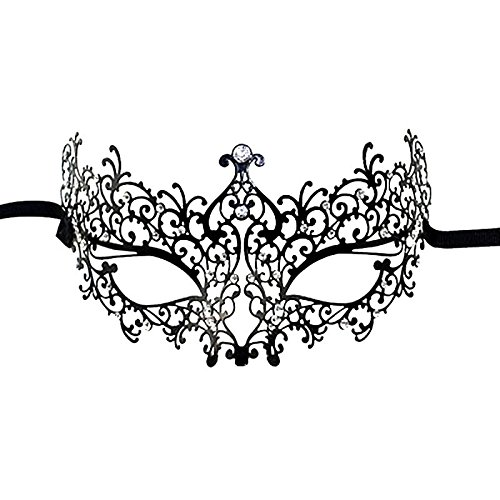 Lumcrissy Venetian Luxury Laser Cut Filigree Metal Masks Black Masquerade Party Masks With Rhinestones, Pretty Masquerade Halloween Party Mask - Elegant Laser Cut Mask