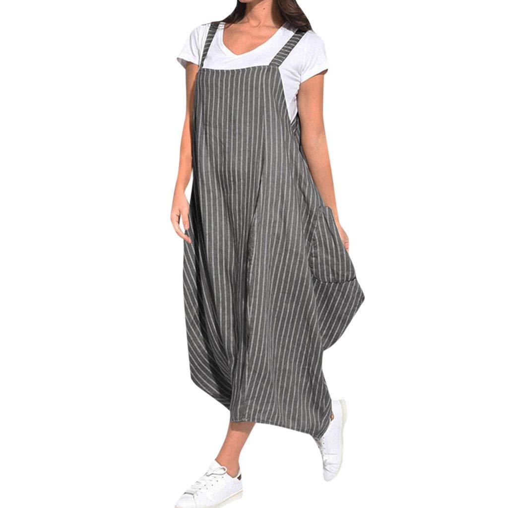 Nadition Lady Personality Dress ✨Women Casual Stripe Print Strap Loose Pocket Irregular Overall Dress Jumpsuit Romper Black
