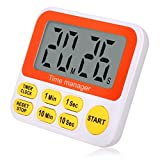 Digital Kitchen Timer with Clock, Cooking Timer with Lound Alarm, Magnetic Backside, Big Digits, Quicker Set Countdown Timer Stand Bracket for Kitchen, Homework, Exercise, Game