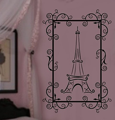 Framed Paris Eiffel Tower Theme Girls Room Vinyl Wall Lettering Decal LARGE 22w x 36H 3 FEET TALL