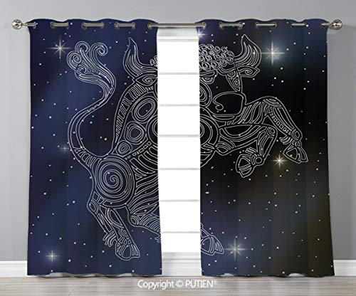 Grommet Blackout Window Curtains Drapes [ Taurus,The Sun on Bull Sign Symbol Mythological Figure on Milky Way Celestial Illustration,Grey Purple ] for Living Room Bedroom Dorm Room Classroom Kitchen C