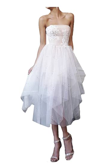 Gorgeous Bride Short Asymmetrical White Wedding Dress Strapless Prom Gown-UK Size 6-White