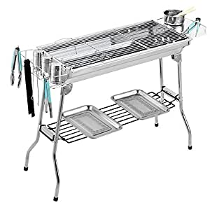 NUMBERNINE,Portable Stainless Steel Charcoal Grill Kebab BBQ Mangal Mashawi Shashlyk Tool , Charcoal yakitori grill