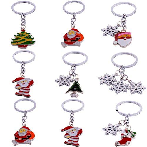 Tinksky 10pcs Christmas Keychains Keyrings with Snowflake Christmas Tree Bell Santa Claus Snowman Charm Pendant ()