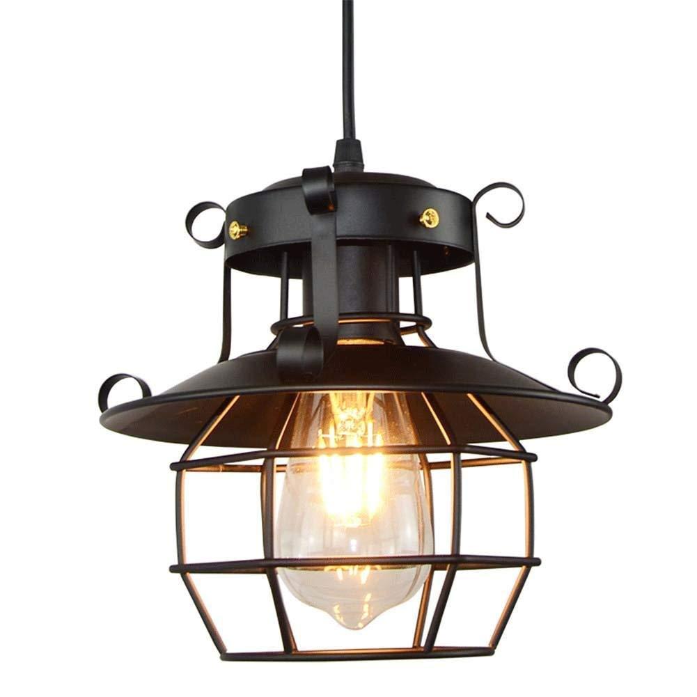 JU FU-Leuchte Amerikanischer industrieller Windleuchter-Restaurantmann-Eisenkunst-dekorativer Kunstbeleuchtungs-Eisenkäfig-Einzelkopfleuchter @