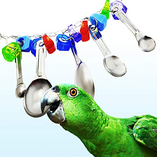 Parrot Toy Spoon - Colorful Stainless Steel & Acrylic Cage Décor - Beak Conditioner for Birds with Soft Beaks - Good for Bird's Mental & Physical Health - Jingling Makes Sounds