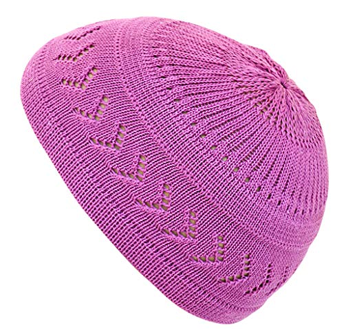 Muslim Bookmark Stretchy Elastic Beanie Kufi Skull Cap Hats Featuring Cool Designs and Stripes (Purple w/Arrow Design)