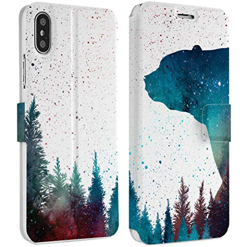 Wonder Wild Forest Bear iPhone Wallet Case 10 X/Xs Xs Max Xr 7/8 Plus 6/6s Plus Card Holder Accessories Smart Flip Hard Design Protection Cover Trees Plants Space Wood Green Nature Beauty Forest]()