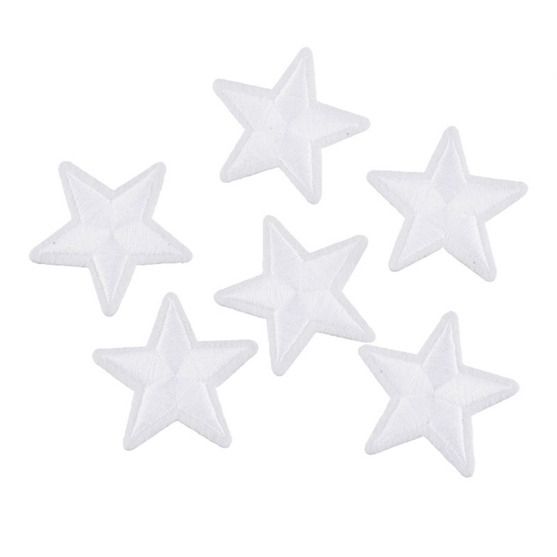 Souarts White Stars Shaped Embroidered Sew Iron On Applique Patches Pack of 10pcs Hellocrafts