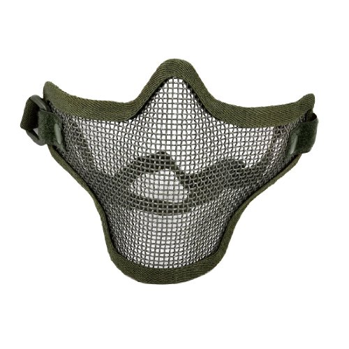 Airsoft Guard Mesh Face (Uxcell a12062600ux0663 Airsoft War Game Half Face Guard Mesh Mask Protector Olive Green)