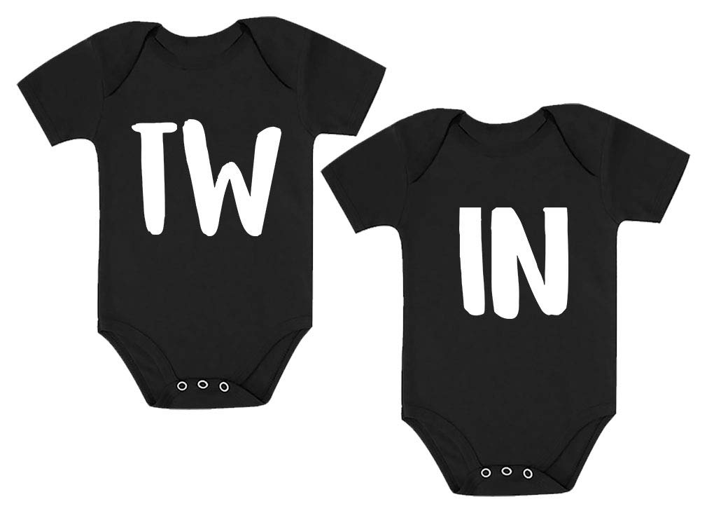 Twin Baby Boys Girls Infant Bodysuit Matching Gift for Siblings Outfit 2 Set