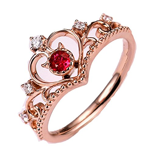 Clearance Sales Womens Girls Faux Crystal Rings AfterSo Fashion Pretty Crown Lady Princess Zircon Ring Anniversary Cocktail Engagement Jewelry Romance Gift for Her Girlfriend (One Size, Rose Gold - 4)