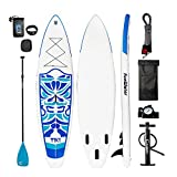 FunWater Cruise Paddle Board 10'6length 33''wide 6''thick Inflatable Sup with Adjustable Paddle,ISUP Travel Backpack ,Coil Leash,High Pressure Pump and Water Proof Phone Bag