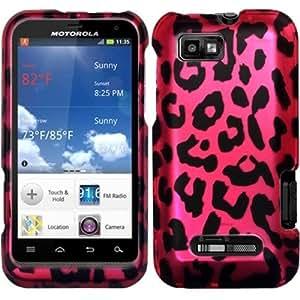For Motorola Defy XT XT556 / XT557 Rubberized Design Case Cover Purple Leopard