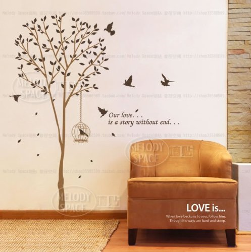 x large contemporary tall tree leaves falling birds flying approx 70 inches or 6 feet wall. Black Bedroom Furniture Sets. Home Design Ideas