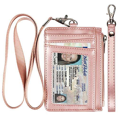 Badge Holder with Zipper, Premium Leather Slim Wallet RFID Credit Card Holder with 8 Card Slots for Man and Woman-Rose -