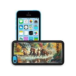 Multicolor Horses Digital Art Rivers Apple iPhone 5C Snap Cover