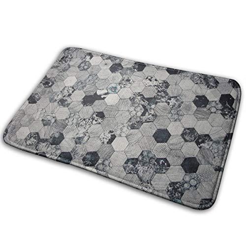 - Kui Ju Non-Slip Doormat Entrance Rug Fade Resistant Floor Mats Black Hive Printed Shoes Scraper 23.6x15.7x0.39Inch