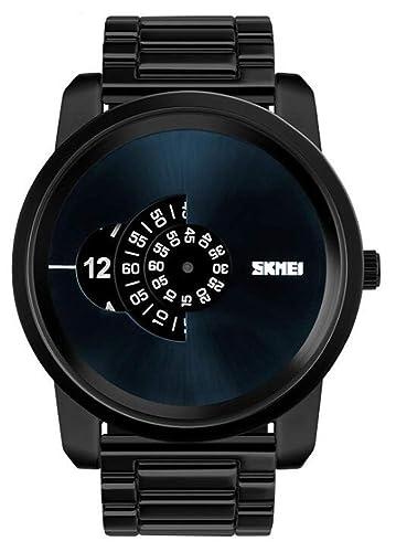 Mire la Banda de Acero Impermeable para Hombres de Gama Alta, el dial de Negocios, la Moda electrónica de Ocio, Negro: Amazon.es: Relojes