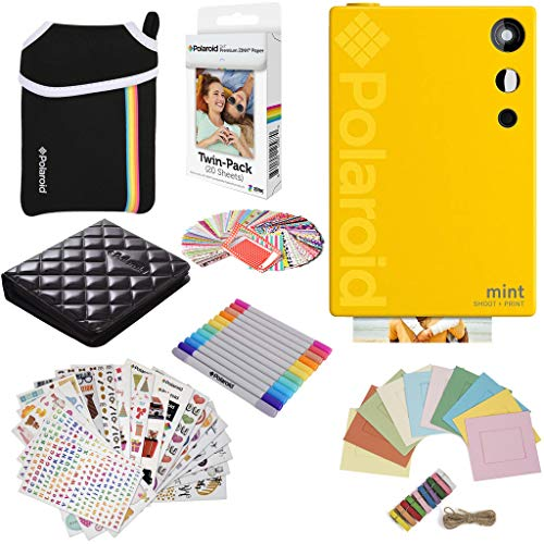 Polaroid Mint Instant Digital Camera (Yellow) Gift Bundle + Paper (20 Sheets) + Deluxe Pouch + 9 Fun Sticker Sets + Twin Tip Markers + Photo Album + Hanging Frames + 100 Sticker Frame Set