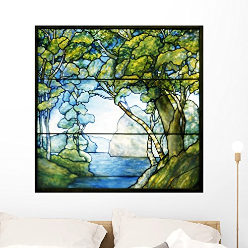 Wallmonkeys Leaded Glass Landscape Window Passage to Sea Wall Decal Peel and Stick Graphic WM25671 (36 in W x 36 in ()