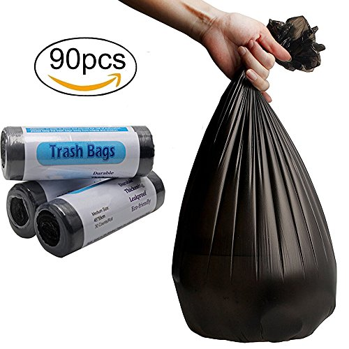 Small Trash Bags 4 Gallon Garbage Bags Waste Basket Bags Trash Wastebasket Bags Trash Can Liners Thin Material 15-Liters for Office, Bathroom, Kitchen,Car Garbage Collection,(90 Counts,Black)