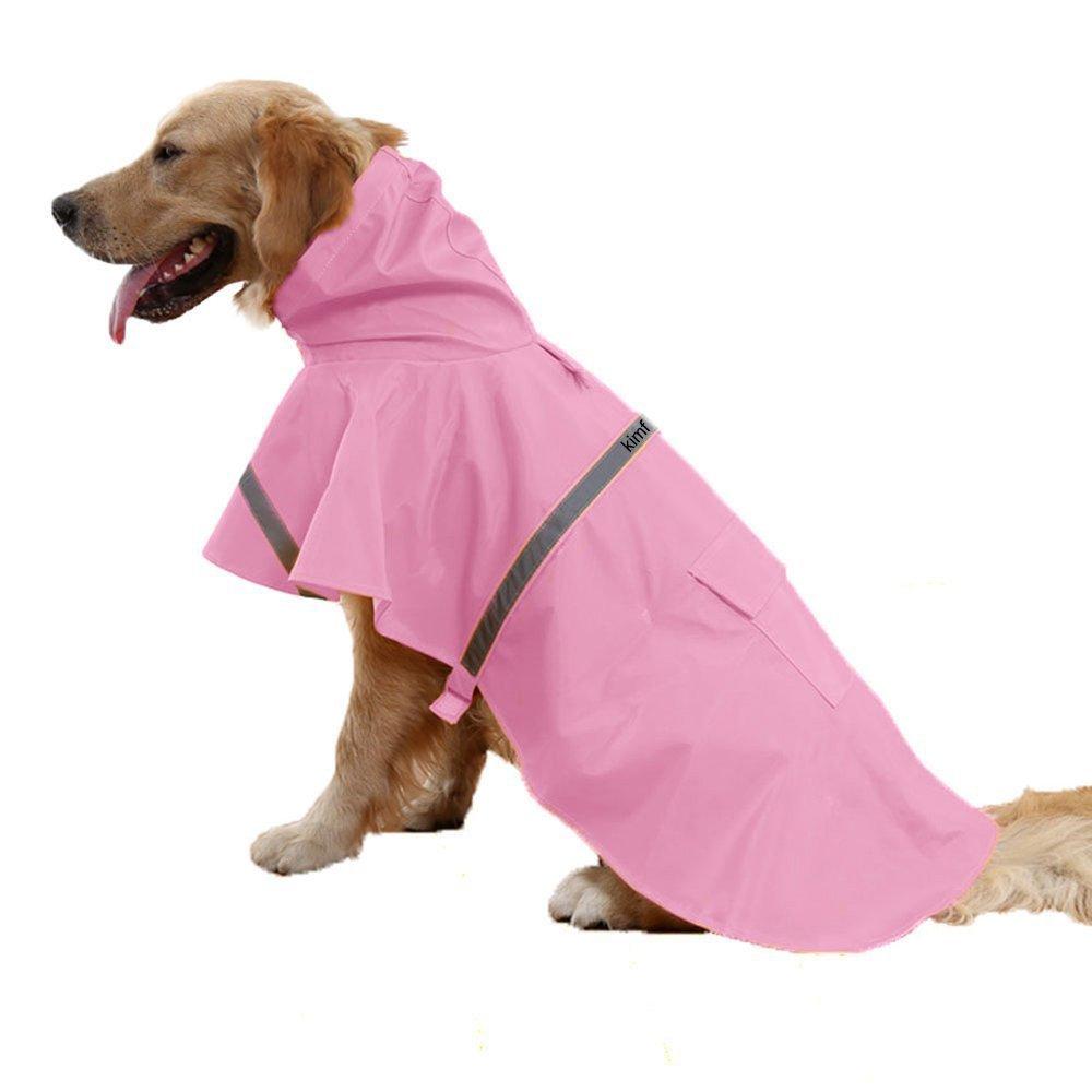 (S (Back 30cm 35cm ChestGirth 38cm 43cm ), Pink) Kimfoxes Dog Raincoats Fashion Dog Rain Poncho Reflective Strips and PU Waterproof Raincoat for Dogs