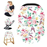 Stretchy Baby Carseat Cover with 4-in-1 Multi-use for Baby Carseat & Nursing/Versatile Breastfeeding Scarf & Stroller & Feeding high Chair Cover for Baby Girls by TIANNUOFA (Watercolor flower)