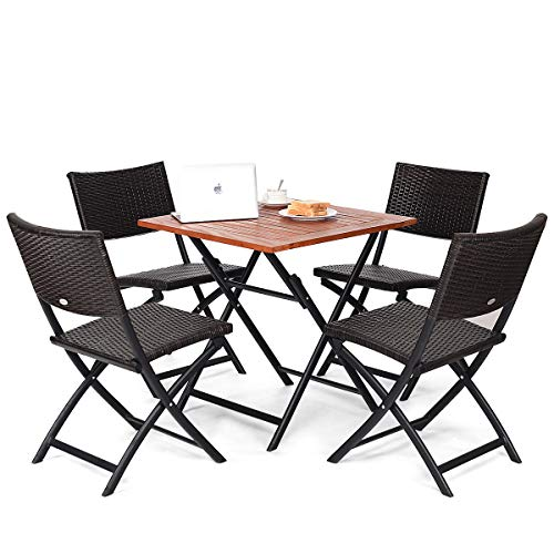 Folding Patio Table Iron Square - FDInspiration 5 Pcs Deck Patio Folding Table Dining Set Outdoor Seat w/ 4 Rattan Sling Back Chairs with Ebook