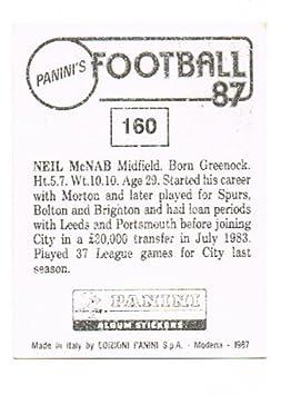 No 160 Neil McNab of Manchester City - Footbal 87 - Panini