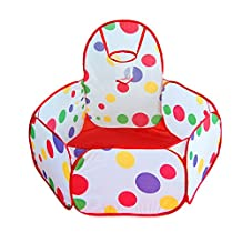 """Kids Play Tent Playpen Ball Pit Pool 39""""Dia Polka Dot Play Ball Pool with Basketball Hoop, Packed in Red Zippered Storage Bag"""