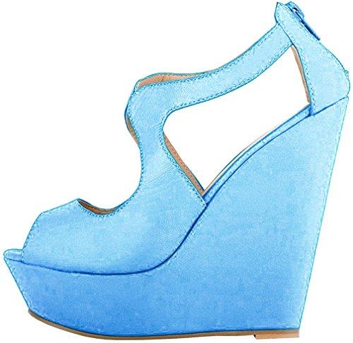 71c0e4a8030 Calaier Mujer Caluckily Tacón Ancho 14CM Sintético Hebilla Sandalias de  vestir Zapatos Azul B