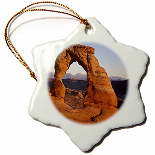 Delicate Arch at Arches National Park, Johnson-Snowflake Ornament, Porcelain, 3-Inch by Valentine - Park Deer At Arches