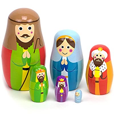 Nesting Nativity Wooden Christmas Holiday Nesting Doll Set with 6 Dolls – Small, Cute Indoor Nativity Manager Scene Doll Set for Home Display, Tables, Mantle, Party Decor & Holiday Decorations: Toys & Games