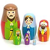 Nesting Nativity Wooden Christmas Holiday Nesting Doll Set with 6 Dolls by Imagination Generation