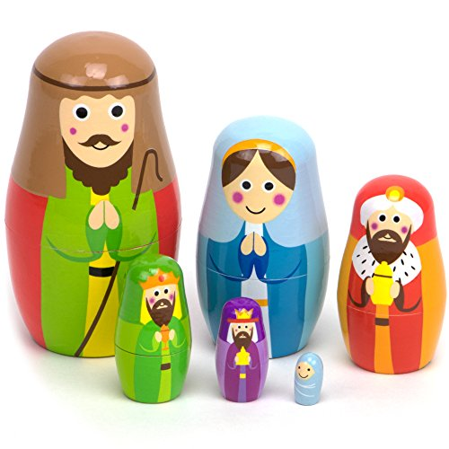 Nesting Set - Nesting Nativity Wooden Christmas Holiday Nesting Doll Set with 6 Dolls by Imagination Generation