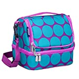 Wildkin Two Compartment Lunch Bag, Big Dot Aqua