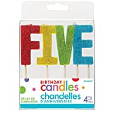 'F-I-V-E' Colorful Glitter Birthday Candles | Party Supply