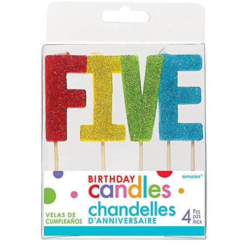 Glittered Birthday Pick Candle Set - FIVE