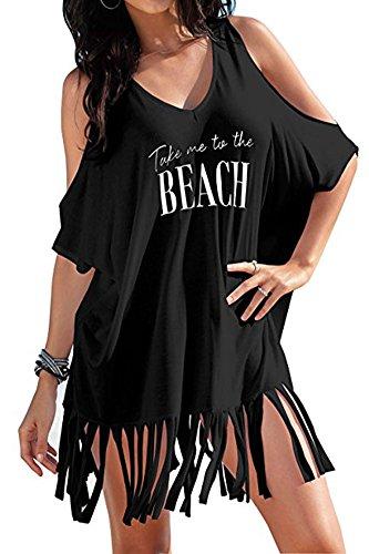 Sundress Cover - BomDeals Women's Cover up T-Shirt Baggy Swimsuit Beach Dress (Black-B)