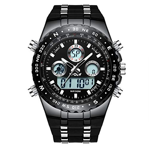 Mens Black Watches Men Military Digital Sports Waterproof LED Wrist Watch Big Face Tough Watches for Men from Hpolw